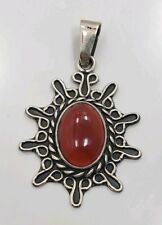 Stone Cii Mexico Charm Pendant Beautiful Modern Sterling Silver 925 Red