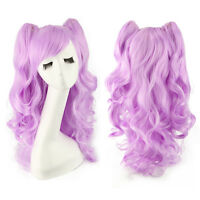 """60cm 24"""" Girl Lady 2 Ponytails Curly Heat Resistance Synthetic Full Cosplay Wigs"""