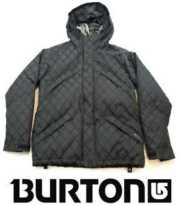 Burton DryRide Down Insulated Ski Snowboard Jacket Coat Diamond Black Hooded S
