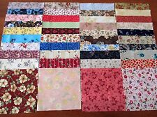 40 x 5' CHARM SQUARES ALL DIFFERENT FLORAL 100% Cotton Fabric Sewing Material N9