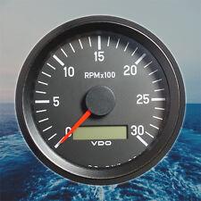 "VDO Cockpit Tachometer LCD Gauge 3000 RPM 80mm 3.1"" + 8 Way Block Connector"