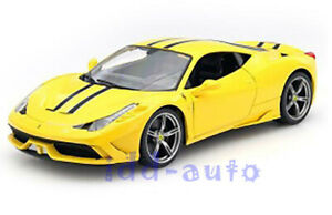 BBURAGO  FERRARI 458 SPECIALE 1/18 DIECAST CAR YELLOW 16002
