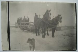 Horse Drawn Sled in Winter Old 1910s RPPC Postcard; Blaisdel to Fordville ND