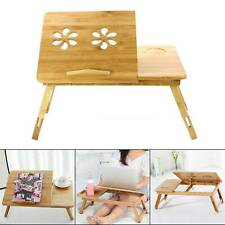More details for bamboo adjustable portable laptop desk lazy table stand lap sofa bed pc notebook