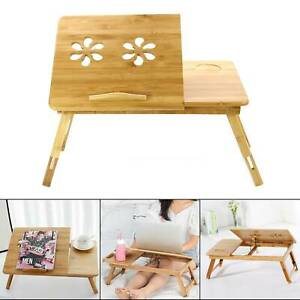 Bamboo Adjustable Portable Laptop Desk Lazy Table Stand Lap Sofa Bed PC Notebook