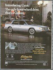 1982 OLDSMOBILE CUTLASS CIERA advertisement, Canadian advert Olds Cutlass sedan