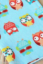 Polka Dot OWLS Cotton Fabric zakka cute cartoon sewing quilting floral patchwork