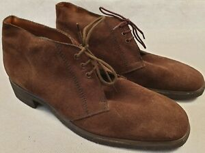 Vintage K Aqua Skips by Clarks Brown Suede Desert Boots Rubber Sole UK Size 10.5