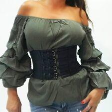 breiter Gürtel Schnallen schwarz Stretch Taillengürtel Gothic belt S