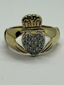 Second Hand 9ct Yellow Gold 5.7 Gram Mens Claddagh Zirconia Ring, Size Z   (248)