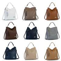 LiaTalia Womens Genuine Italian Leather Zip Hobo Shopper Shoulder Handbag - Gwen
