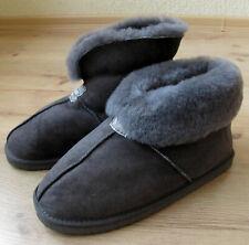 Ladies/Womens GENUINE SHEEPSKIN Slipper Boot Roll up / Down Cuff Real fur Grey