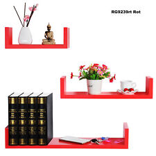Wall Shelves Floating Wall Mounted Shelf MDF Cube Red URG9239rt