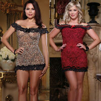Plus Size Lingerie One Size Queen Wild Kitty Leopard Print Chemise
