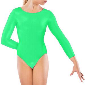 New Kids Girls Uniform Leotard Dance Gym Gymnastics Ballet Long Sleeve Age 3-14