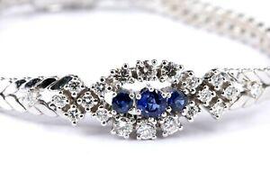 1,90 ct. Diamant Saphir Gold Armband 750 Weißgold 20 Brillanten ca. 1,18 ct 17cm