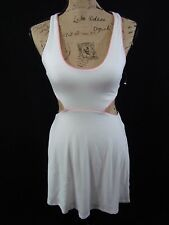 Victoria Secret Dress Open Waist Eyelet A Line Stretch White Pink Size XS