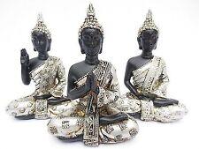 3er Set Thai Buddha in silber/schwarz Figur Dekofigur Höhe ca. 11,5 cm