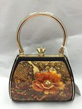Debbie Brooks Black Gold Handbag Evening Bag Handle New PAISLEY PEACH Flower