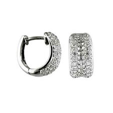 1.50ct Round Cut in 14K White Gold Pave Diamond Hoop Huggies Earrings F/VS1