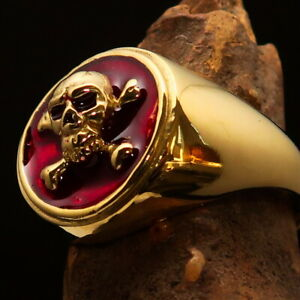 Nicely crafted Men's Pirate Ring Jolly Roger crossed Bones Skull Red