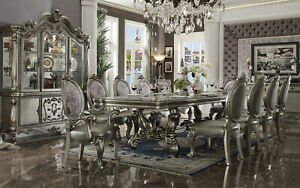 Traditional Platinum Finish Dining Room 11pcs Rectangular Table & Chairs Set AN6