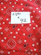 Red & White Sewing, Craft, Quilt Cotton Fabric Size 2 Yards x 42 Inches Nice!!