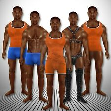 Anatomically Correct Black Wrestler Paper Doll Muscle Singlet Leather Set