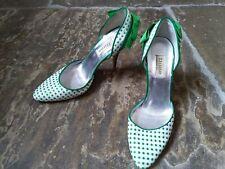DUNE green white polka dot heels stiletto rockabilly vintage style bow 39 6 vgc