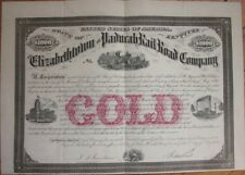 1873 Railroad Bond Certificate: 'Elizabethtown & Paducah Rail Road'- Kentucky KY