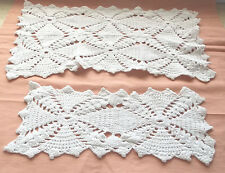 "Lot Of 2 Vintage Crocheted Doilies Hand Crafted Matching 5"" x 10"" & 10"" x 15"""