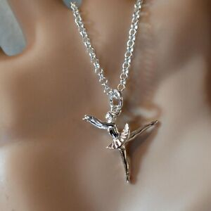 new sterling silver ballerina pendant & chain