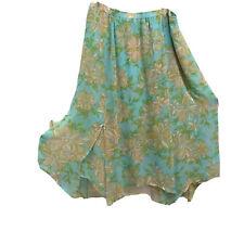 Marc Bouwer XL Skirt Hi-Lo Hanky Hem Layered Lined Chiffon Elastic Waist
