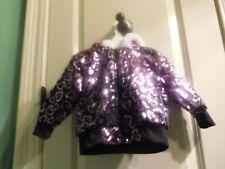 Jacket For Baby Girl-Size:12 Months-Black & Purple-White Fur Trimmed Hood