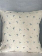 Peony & Sage Cushion Cover Tiny Blue  Bees on White Linen Fabric