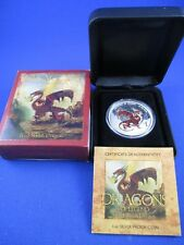 2012 TUVALU RED WELSH DRAGON $1 SILVER PROOF COIN BOX + COA