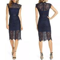 NEW Bardot Imogen Lace Dress Womens Size 8 Navy Blue Sheath Cocktail Mock Neck