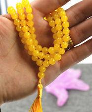 Jewelry 6mm stone Buddhist Brazil topaz 108 Prayer Beads Mala Bracelet Necklace