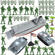 32Pcs Toy Soldiers Military Playset Landing Craft & Tanks with Green Army Men