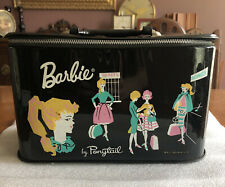 Vintage Vtg 1962 Mattel Barbie Black Train Case Storage Box By Ponytail