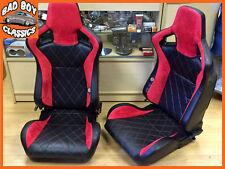 COPPIA bb6 Schienale Reclinabile Inclinabile secchio sedili sportivi Red Diamond Cuciture/ALCANTARA