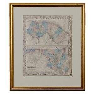 County Map of Maryland, Delaware New Jersey by S. Augustus Mitchell, c. 1874