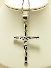 18k Solid White Gold Hollow Polished Cross Pendant 4.58 Grams