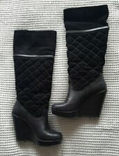 Debenhams Size 6 Knee High Black Quilted Wedge Boots