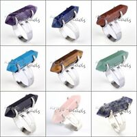 Silver Plated Gemstone Hexagon Beads Chakra Healing Point Adjustable Finger Ring