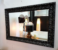 Wall Mirror French Wood Ornate Antique Black Silver Bevelled Glass 110x80cm