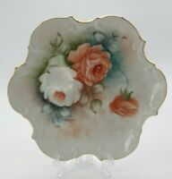 Antique American Hand Painted Ceramic Plate Gilded  Roses 1893 Debbie McLeroy