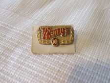 Vintage Wendy's #10 Brown Rare Employee Year Service/Loyalty Metal Pin Fast Food