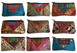 Large Ethnic Indian Coin Purse Embroidery Colourful Fairtrade Boho Sari Change