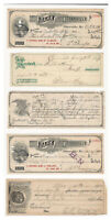 LOT OF 5 ANTIQUE LATE 1800S & EARLY 1900S CANCELLED US CHECKS GREAT GRAPHICS